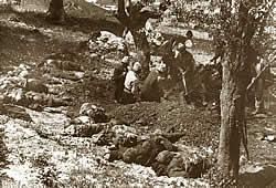 Exposing a mass grave near Kodra
