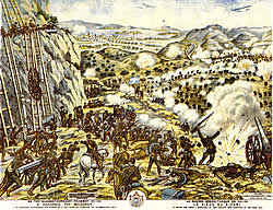 Greek postcard, breakthrough at the Bizani fortifications