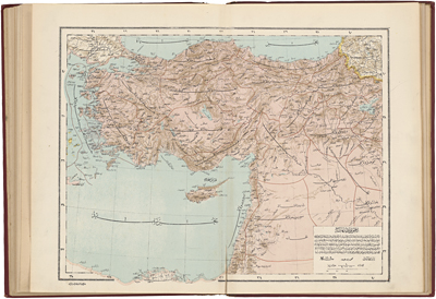 Ottoman atlas of the world, map of Asia Minor, Syria and Palestine, Istanbul A.H. 1314 (1899)