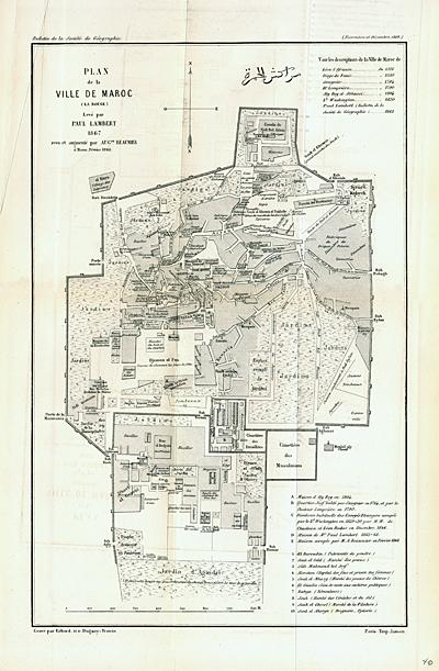 Lambert, Paul, Plan de la Ville de Maroc (la Rouge), uit: Bulletin de la Société de géographie, Parijs 1868
