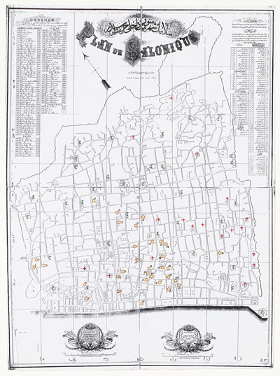 Wernieski, A., Plan de Salonique (Copy on a reduced scale of a 1903 French / Ottoman plan of Thessalonica, showing all the synagogues, churches and mosques), Leiden 2003