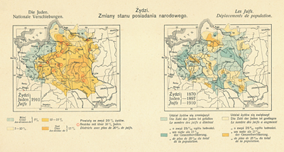 The Jews, National displacements, Jews in 1910 and Jews in the years 1870, 1897 and 1910. From : Romer, E. von (Red.), Geographisch-statistischer Atlas von Polen, Warszawa & Krakow 1916