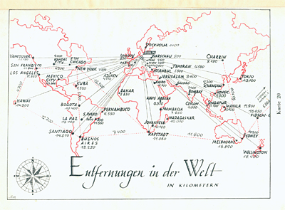 Kaart Entfernungen in der Welt, in: Philo G.M.B.H. (Herausg.), Philo-Atlas, Handbuch für die jüdische Auswanderung, Berlin 1938
