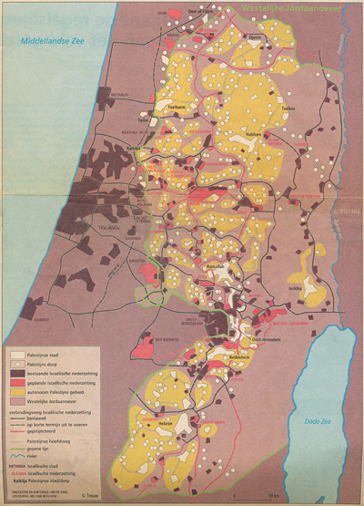 Trouw 29-7-'95, Map of the West Bank, with the article 'Palestijnen wacht eilandenrijk', Amsterdam