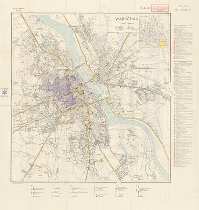 Jesuiter, M., Manuscript map of the Warsaw Ghetto, late 1940, on the confidential Militär-Geographischer Stadtplan Warschau, n.pl. 1940